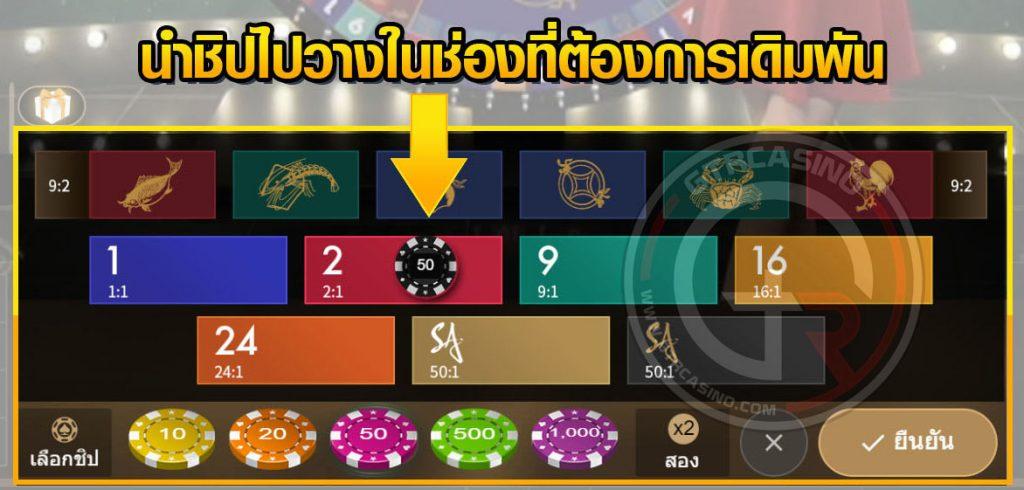 Money Wheel วงล้อมหาโชค ช่องเดิมพันสำหรับการวางชิป